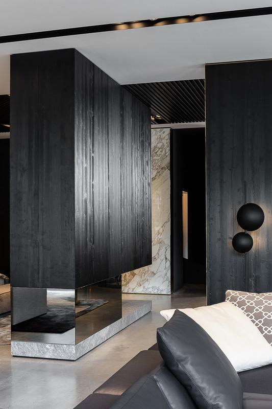München Architektur Fotograf, Detailansicht Interior mit Kamin