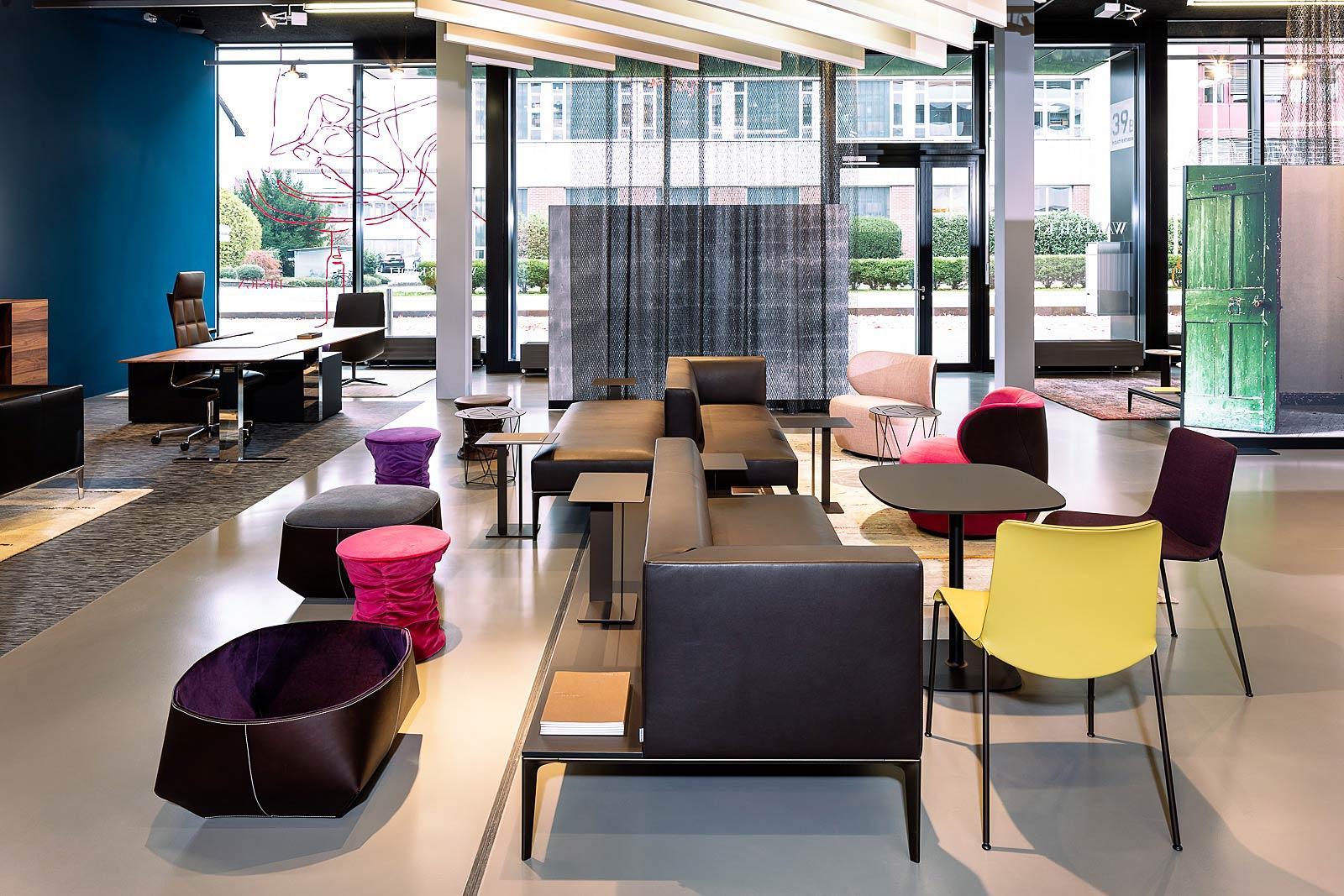 Architekturfotografie Innenraum, Ansicht, neuer Showroom von Walter Knoll in Zürich, Interior Fotografie