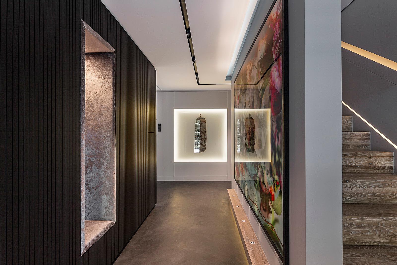 Architekturfotografie Innenraum, Architektur und Interieur Fotograf, Innenarchitektur, Eingang mit Treppenhaus,
